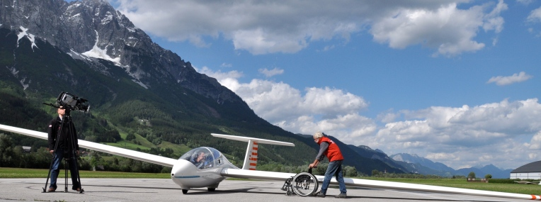 """""""Projekt Rolli Gliding"""" with Wings for Life, Location: Alpenflugzentrum Niederöblarn"""