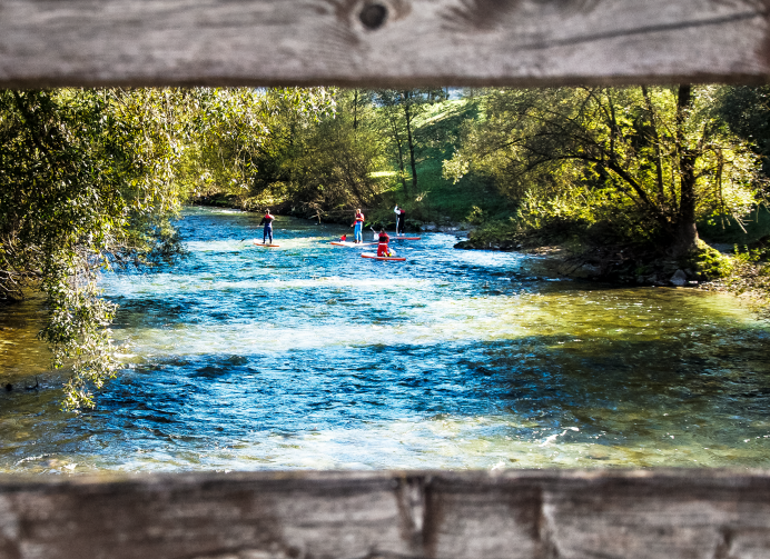 """Stand Up Paddling"", Client: Special Booking, Location: Einns River, Grundlsee"